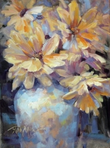 Yellow Flowers In Luster Vase